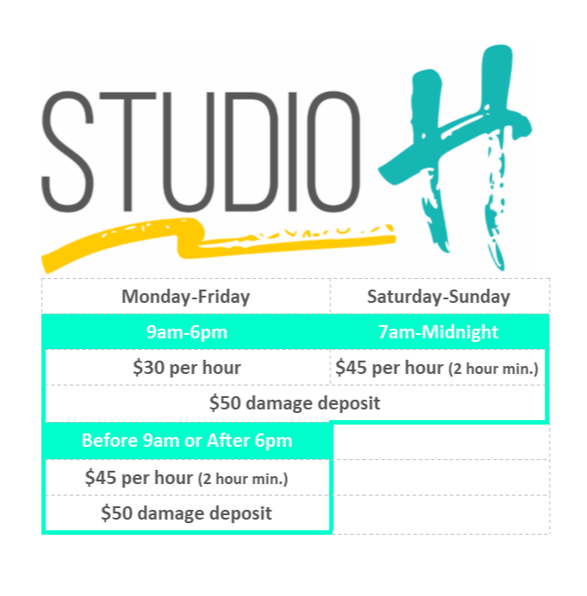 Studio H rental rates